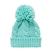 Mothercare Young Girls Aqua Cable Knit Beanie Hat Size 1-3 years