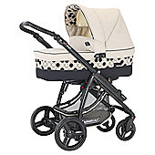 Bebecar Ip-Op Black Combination Pram, Parchment
