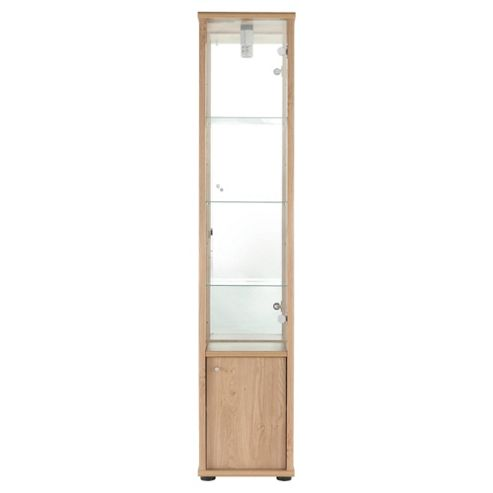 Fulham Single Door Display Cabinet With Cupboard, Oak-Effect