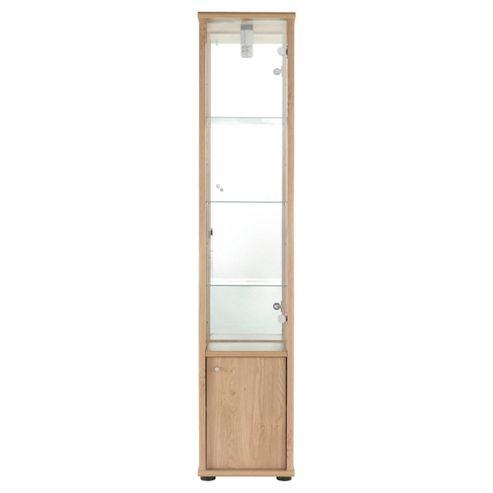 Fulham Single Door Display Cabinet With Cupboard, Oak-Effect