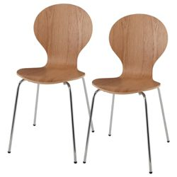 Pair Of Bistro Chairs, Oak Veneer