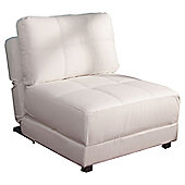 Leader Lifestyle Rita 1 Seater Convertible Sofa Clic Clac Chair - White PU Leather