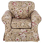Louisa Armchair with Removable Fabric Cover, Floral Brown