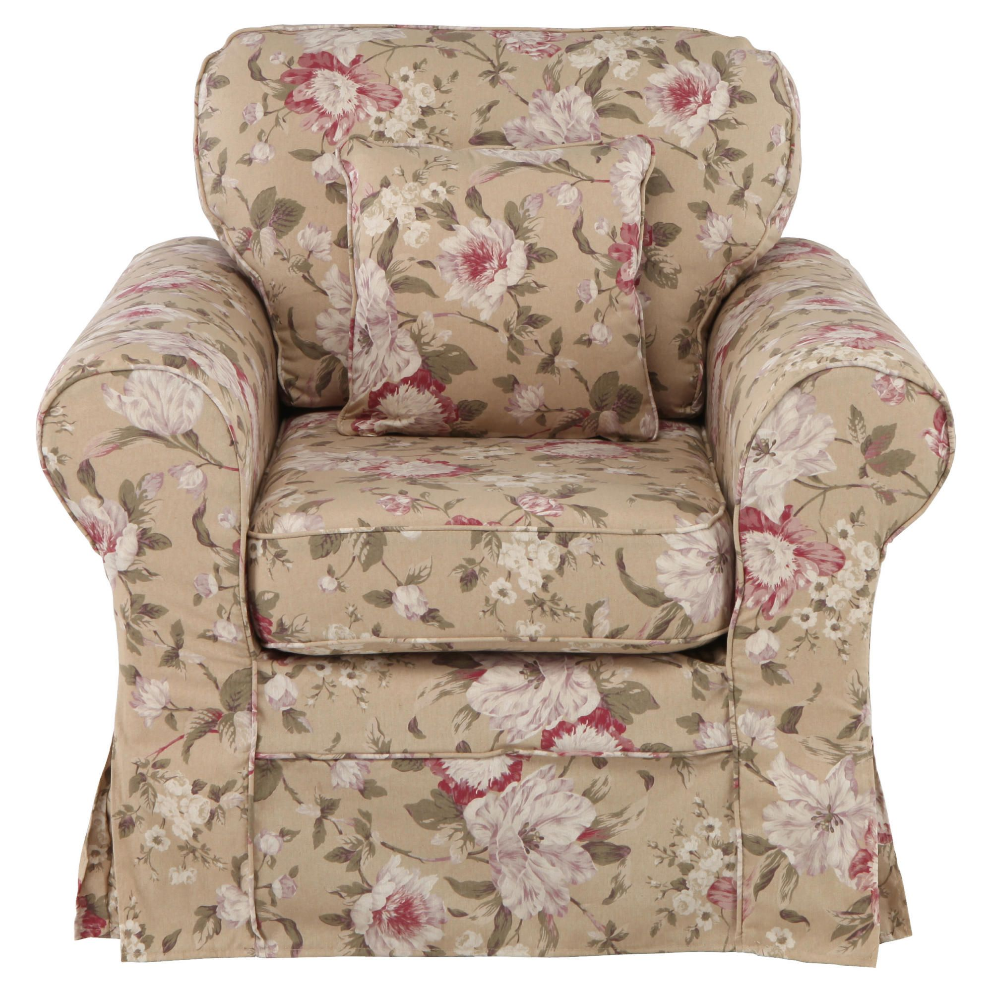 Louisa Armchair with Removable Fabric Cover, Floral Brown at Tescos Direct