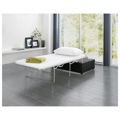 Eddie Leather Effect Footstool Bed, Black