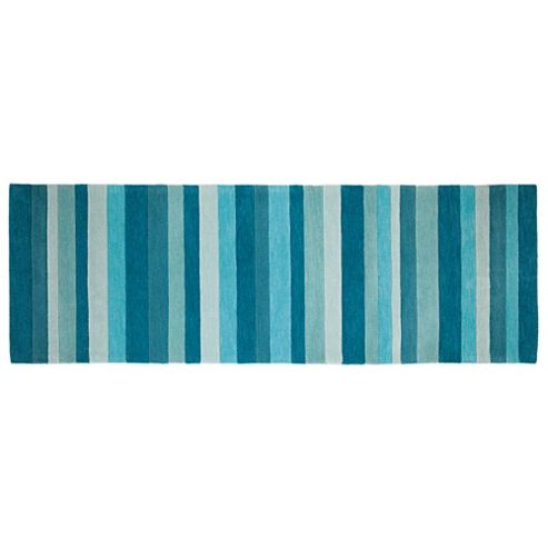 Tesco Rugs - Stripe runner teal 67x200cm