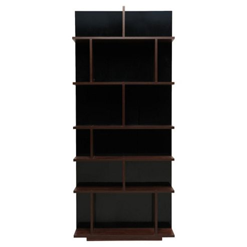 Genoa Shelving Unit, Walnut-Effect & Black Gloss