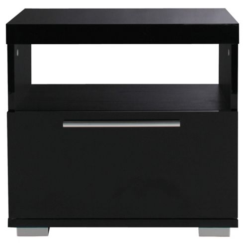 Milan High Gloss Side Table, Black