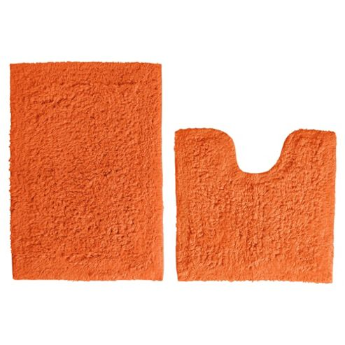 Tesco Pedestal And Bath Mat Set Orange