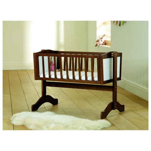 Saplings Bernice Swinging Crib, Walnut & White
