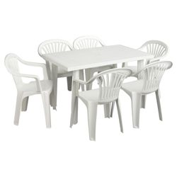 White Plastic Garden Furniture Set
