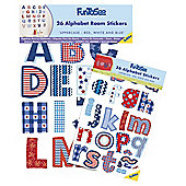 FunToSee Red, White and Blue Alphabet Wall Stickers