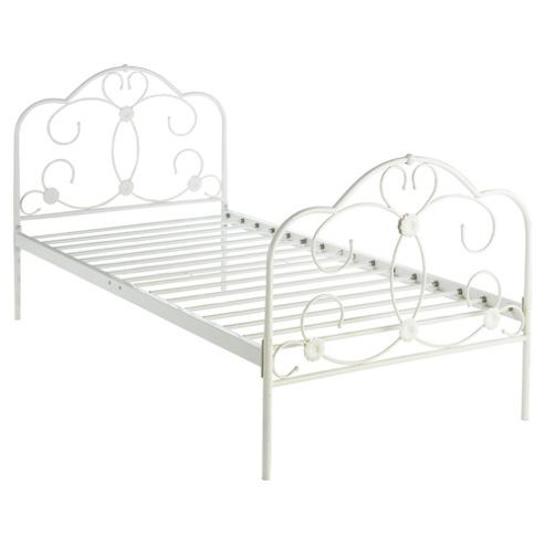 Florence Single Metal Bed Frame, Cream