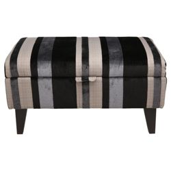 Ella Fabric Footstool Black Stripe