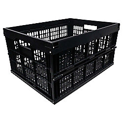 Black 32L Folding Storage Crate