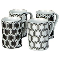 Tesco Geometric Set of 4 Mugs.