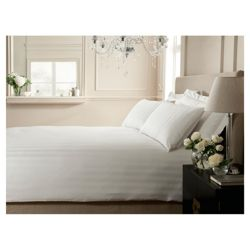 Hotel Broad Satin stripe Duvet White- Kingsize