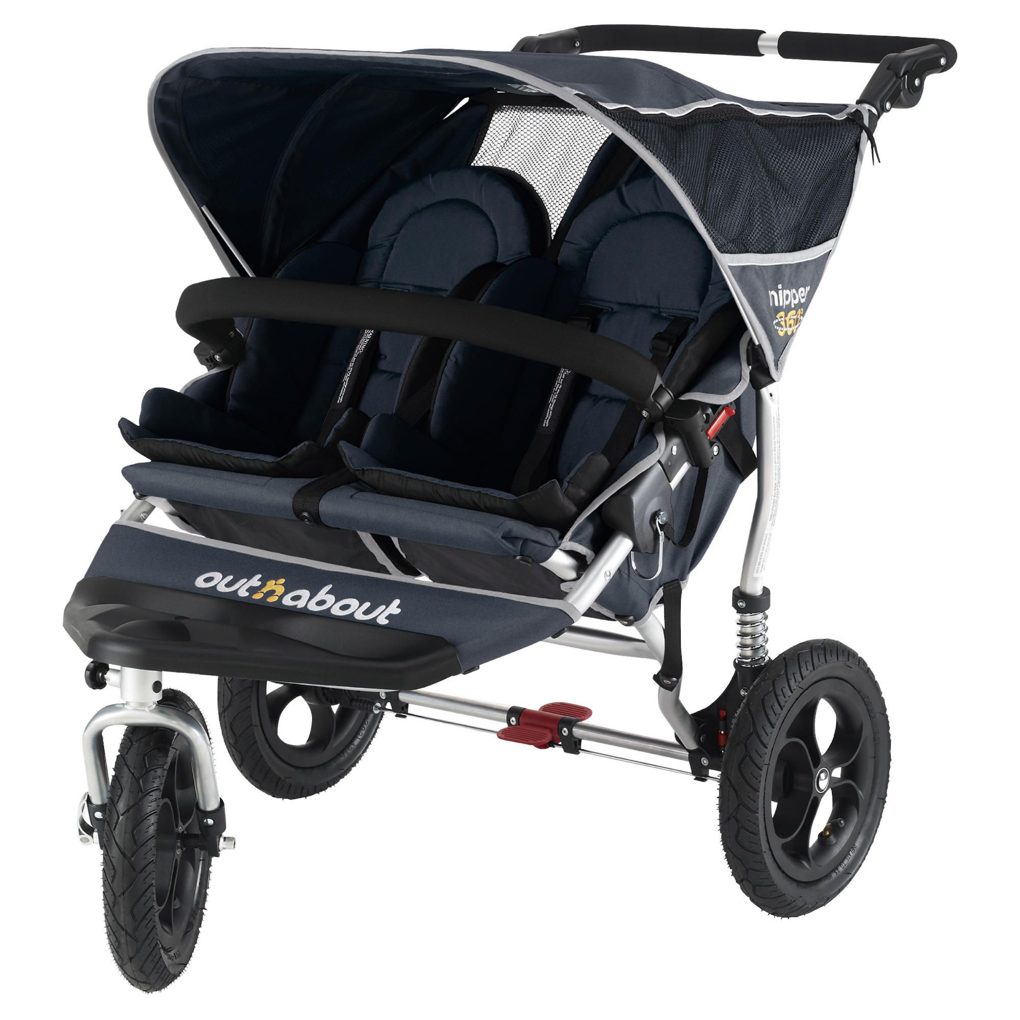Out 'n' About V2 Nipper 360, 3 wheeler Double pushchair, Navy at Tesco Direct