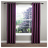 Faux Silk Lined Eyelet Curtains - Plum
