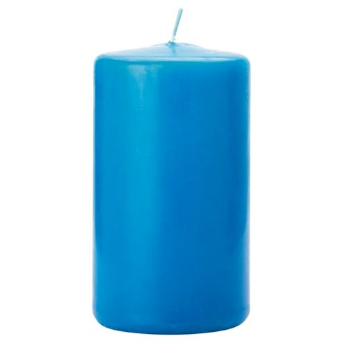 Tesco teal pillar candle