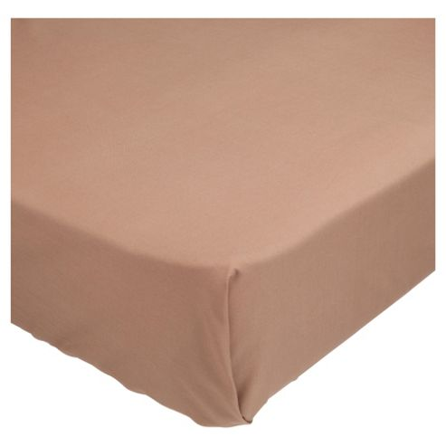 Tesco Single Flat Sheet Dark Natural,