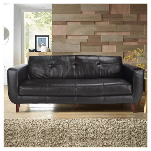 Lorenzo Leather Large Sofa Black