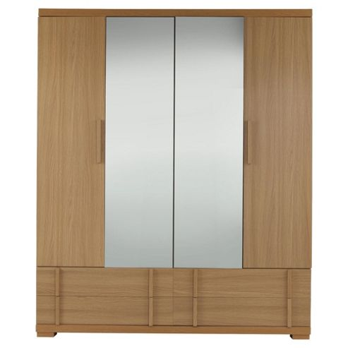 Brandon 4 Door Wardrobe, Oak-Effect