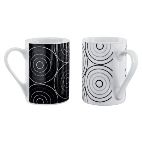 Tesco Raindrop Set of 4 Mugs, Black and White