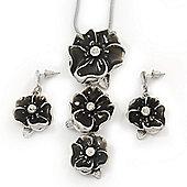 'Triple Flower' Dark Grey Enamel Diamante Necklace & Drop Earrings Set In Rhodium Plated Metal - 38cm Length (6cm extender)