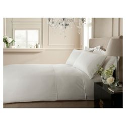 Hotel Broad Satin Stripe Double Duvet White