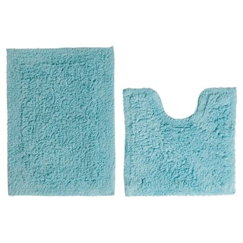 Tesco Pedestal And Bath Mat Set Aqua