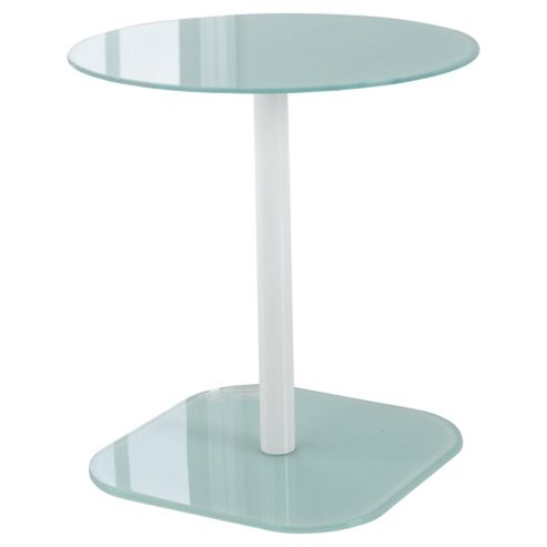 Lola Glass & Metal Side Table White
