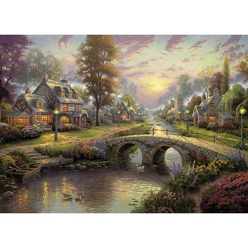 Sunset On Lamplight Lane 1000 Kinkade