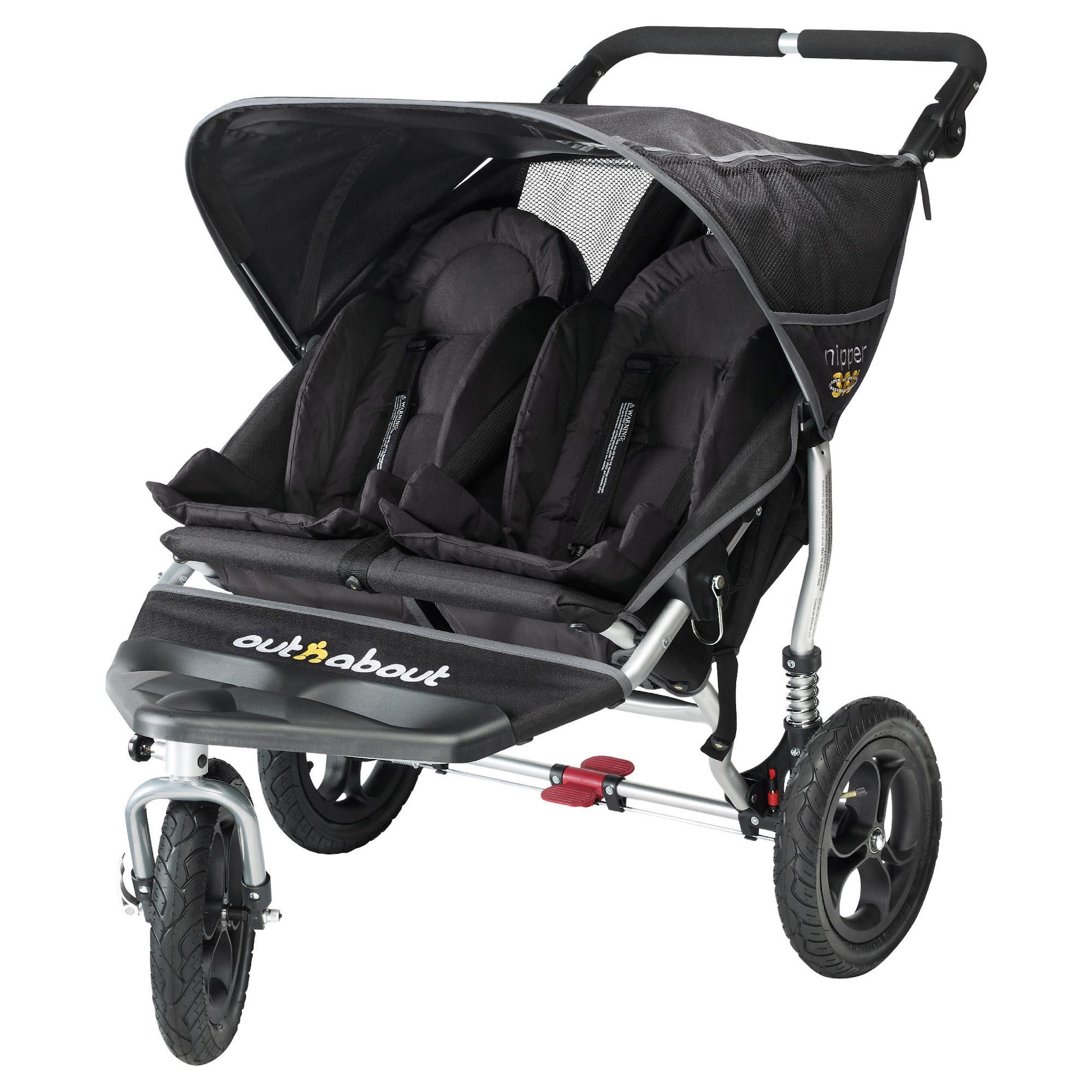 Out 'n' About V2 Nipper 360, 3 wheeler Double Pushchair, Black at Tesco Direct