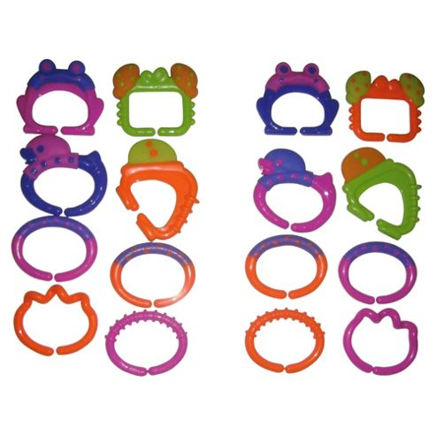 Brights Teether Links Pink & Orange