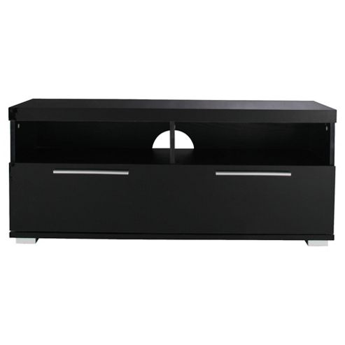 Milan TV Unit with Chrome Handles, Black High Gloss