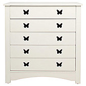 Butterfly 5 Drawers Chest, White