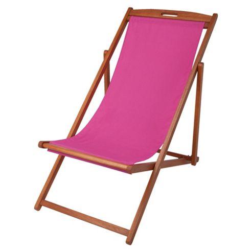 Tesco Wooden Deck Chair-  Pink