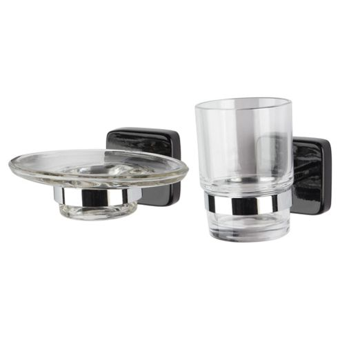 Stockholm Black Gloss Soap Dish And Beaker Holder Set
