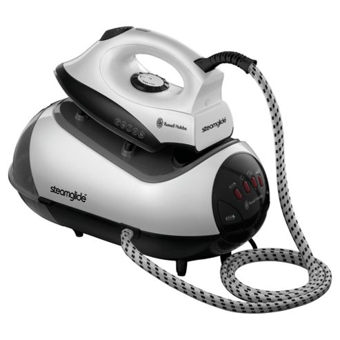 Russell Hobbs 17880 Non Stick Plate Pressurized Steam Generator Iron - Black & White