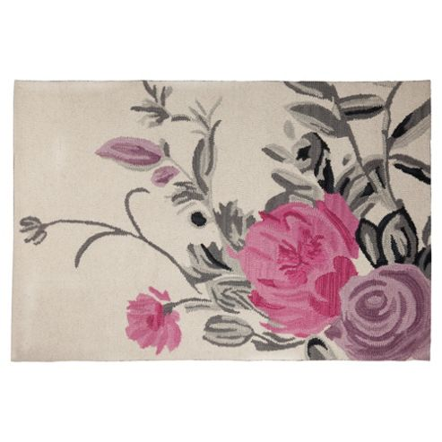 Tesco Rugs Watercolour Floral Rug Cream 120X170Cm