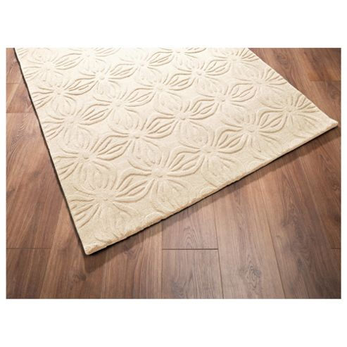 Tesco Rugs Embossed floral rug cream 120x170cm