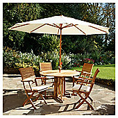 Dorney Teak 4 Seat Set With Parasol