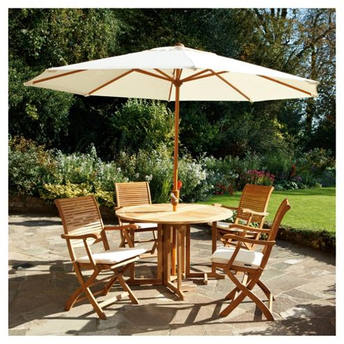 Dorney Teak 4 Seat Set Dressed inc Parasol