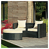 Figi Duo set with footstool, charcoal