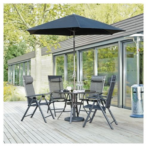 Sorrento 4 Seat Set & Parasol - Charcoal.
