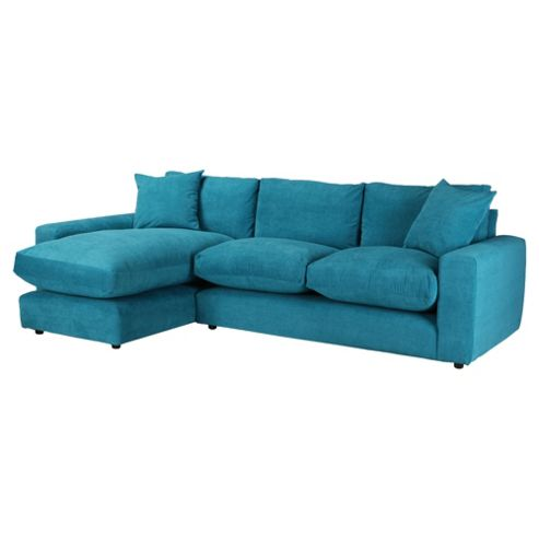 Valentino Chaise Sofa Teal Left Hand Facing