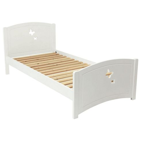 Butterfly Single Wooden Bed Frame, White