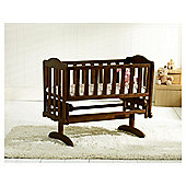 Saplings Glider Crib & Foam Mattress, Walnut.