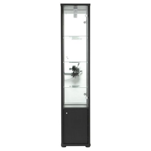 Fulham 2 Door Display Cabinet With Cupboard, Black